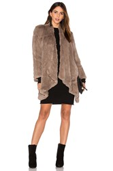 H Brand Hand Knitted Rabbit Fur Coat Brown