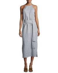 Halston Sleeveless High Neck Striped Cami Dress W Sash Multi