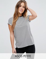 Asos Petite Crew Neck T Shirt In Stripe Black White Multi