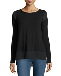 Laundry By Shelli Segal Long Sleeve Twisted Trim Top Black