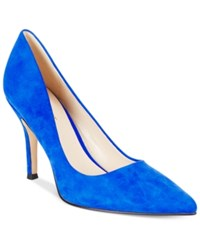 Nine West Flax Pointed Toe Pumps Women's Shoes Electric Blue Suede