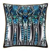 Roberto Cavalli Plumes Silk Cushion Blue