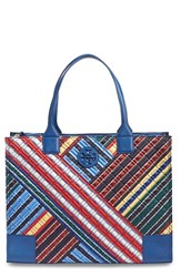 Tory Burch 'Ella Quilted Stripe' Tote Blue Blanket Stripe Diagonal
