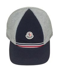 Moncler Cotton Baseball Cap Gray Navy