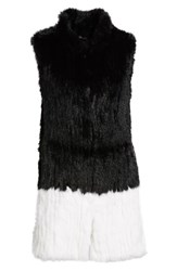 Love Token Long Colorblock Genuine Rabbit Fur Vest Blk White