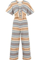 Solid And Striped The Tie Cutout Striped Basketweave Cotton Jumpsuit Sky Blue