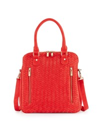 Neiman Marcus Woven Faux Leather Satchel Bag Poppy