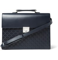 Gucci Gg Debossed Leather Briefcase Navy