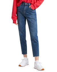 Levi's Premium High Waist Straight Leg Cropped Mom Jeans Blue