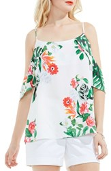 Vince Camuto Women's Havana Tropical Cold Shoulder Blouse Ultra White