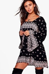 Boohoo Liv Placement Printed Wide Sleeve Swing Dress Multi