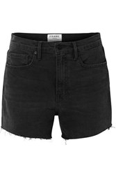Frame Le Brigette Frayed Denim Shorts Black