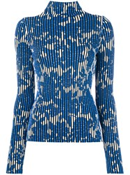 Christian Wijnants Striped Floral Sweater Women Polyester Viscose Xs Blue