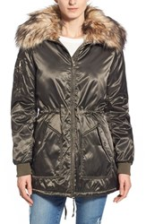 Women's Steve Madden Satin Parka With Faux Fur Trim Olive
