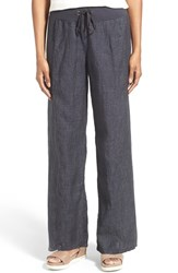 Petite Women's Eileen Fisher Organic Linen Drawstring Wide Leg Pants