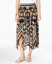Jpr Printed Handkerchief Hem Midi Skirt Total Eclipse