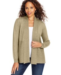 Karen Scott Petite Long Sleeve Cable Knit Cardigan Only At Macy's Oatmeal Heather