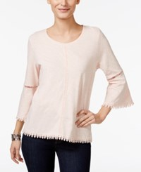 Styleandco. Style Co. Crochet Trim Bell Sleeve Top Only At Macy's Crushed Petal