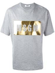 Msgm Metallic Logo Print T Shirt Grey