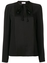 Red Valentino Bow Blouse Acetate Viscose Black