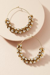 Anthropologie Sparkle Cuff Hoop Earrings Gold
