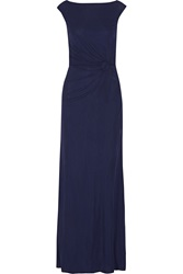 Issa Ruched Crepe Gown Blue