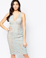 Forever Unique Inca Plunge Front Lace Midi Dress Blue