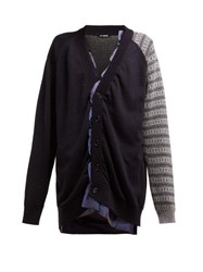 Raf Simons Contrast Sleeve Ruffle Cotton Blend Cardigan Navy Multi