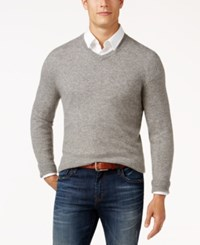 Club Room Cashmere V Neck Solid Sweater Grey Heather