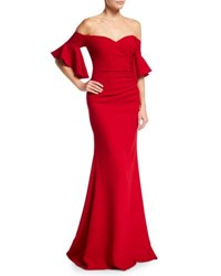 Badgley Mischka Off The Shoulder Ruched Crepe Evening Gown Red