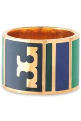 Tory Burch Geo Gold Tone Resin Ring Blue