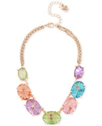 Betsey Johnson Rose Gold Tone Large Multicolor Stone Collar Necklace