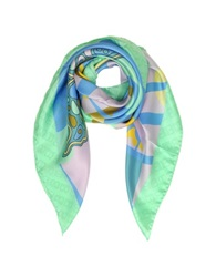 Laura Biagiotti Multicolor Butterfly Print And Logo Silk Square Scarf Green