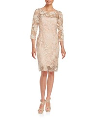 Vera Wang Illusion Neck Sequined Dress Nude
