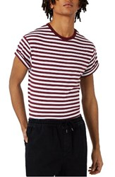 Topman Men's Stripe Muscle Roller T Shirt Burgundy Multi