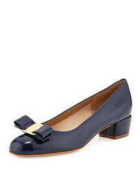 Vara 1 Patent Bow Pump Oxford Blue Salvatore Ferragamo