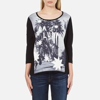 Maison Scotch Women's 3 4 Sleeve Photo Print T Shirt Black
