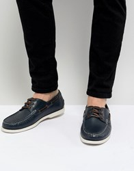 Kurt Geiger London Leather Boat Shoes In Navy