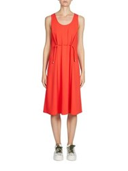 Kenzo Cinched Waist Crepe Dress Vermillion