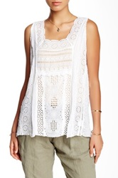 Johnny Was Embroidered Eyelet Woven Tank White