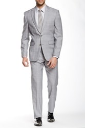 Vince Camuto Light Gray Plaid Two Button Notch Lapel Slim Fit Wool Suit