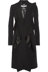 Givenchy Ruffled Satin Paneled Grain De Poudre Wool Coat Black