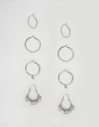Stradivarius Silver Pack Of Hoops