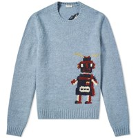 Saint Laurent Robot Crew Knit Blue