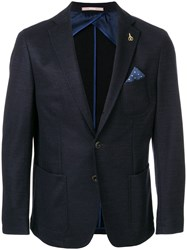 Paoloni Fitted Blazer With Pocket Square Cotton Viscose Wool Blue