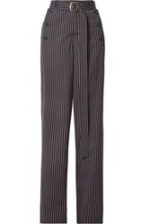 Sies Marjan Anouk Belted Paneled Pinstriped Twill Straight Leg Pants Navy