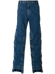Y Project Decorative Button Wide Leg Jeans Men Cotton Xxs Blue