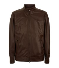 Peter Millar Calf Leather Jacket Male Cognac