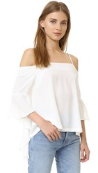 Re Named Cascade Sleeve Cold Shoulder Top Off White
