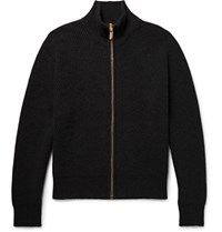 Calvin Klein Collection Newon Ribbed Cahmere Zip Up Cardigan Black